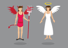 Angel and Devil Vector Cartoon Characters Illustration Stock Image