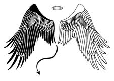 Angel and devil wings stock illustration