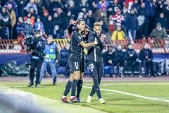 Angel DI Maria et Neymar cerebrating un but photographie stock libre de droits