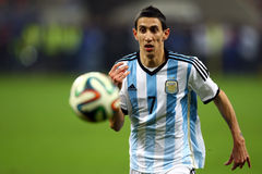 Angel Di Maria. During the football match between Romania and Argentina, 5th March 2014, National Stadium, Bucharest, Romania. Final score: 0-0 Royalty Free Stock Photo