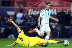 Angel Di Maria. During the football match between Romania and Argentina, 5th March 2014, National Stadium, Bucharest, Romania. Final score: 0-0 Royalty Free Stock Photos