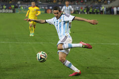 Angel di Maria takes a shot Stock Photography