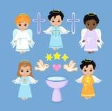Angel Digital Clipart Ajuste meninos do anjo no céu baptism ilustração stock