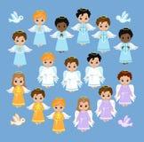 Angel Digital Clipart Metta i ragazzi di angelo sul cielo baptism illustrazione vettoriale
