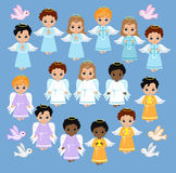 Angel Digital Clipart. Set Angel boys on the sky . Baptism. Royalty Free Stock Images