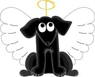 Angel Dog. Black dog looking up at halo while wearing angel wings