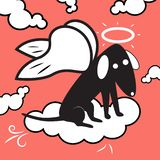 Angel dog flying in the sky vector illustration