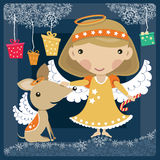 Angel with dog and presents. Little angel girl with a dog among the clouds Stock Photo