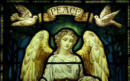 Angel with doves and peace Royalty Free Stock Images