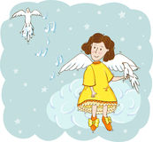 Angel with doves in the sky. Angel in yellow dress with doves in the sky Stock Photo