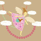 Angel and dragon. Angel flying through the sky, greeting card, illustration in a children's style Stock Photography
