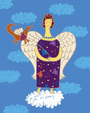 Angel with dragon. Angel holding the leash a little dragon, standing on a cloud against the clear sky and clouds Stock Photos