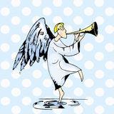 Angel drawing color card  background circles Royalty Free Stock Image