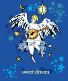 Angel drawing color card  Royalty Free Stock Images