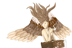 Angel drink coffee in the cafe -  illustration Royalty Free Stock Photo