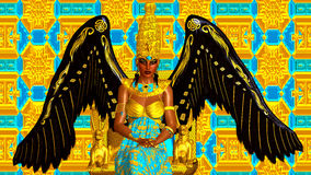 The Angel of Egypt. Wings of gold and black and feather earrings. Seated on a gold throne with an Egyptian crown Royalty Free Stock Photos