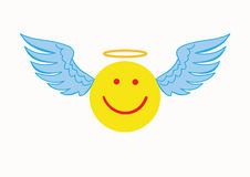 Angel emoticon on a white background. Stock Photography