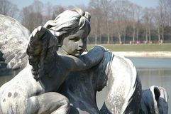 Angel Face. Versailles fountain statue stock photo