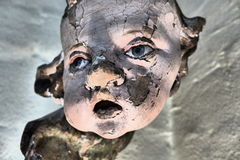 Angel face 4. Fragment of antique figurine of angel royalty free stock photo