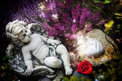 Angel in fall grave design Royalty Free Stock Photo