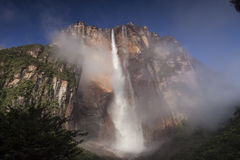 Angel Falls in Venezuela. Waterfall pouring down a cliff, Angel Falls, Venezuela Royalty Free Stock Images