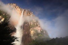 Angel Falls in Venezuela. Waterfall pouring down a cliff, Angel Falls, Venezuela royalty free stock image