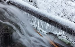 Angel falls, winter time with snow and icicles, Washington USA stock photo
