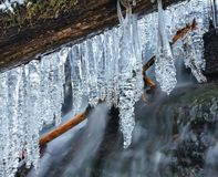 Angel falls, winter time with snow and icicles, Washington USA stock image