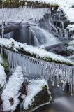 Angel falls, winter time with snow and icicles, Washington USA royalty free stock photography