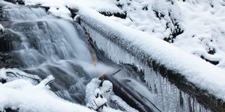 Angel falls, winter time with snow and icicles, Washington USA royalty free stock photos