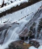 Angel falls, winter time with snow and icicles, Washington USA stock photos