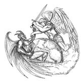 Angel Fighting Demon over Earth World Tattoo Stock Images
