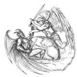 Angel Fighting Demon sobre a tatuagem do mundo da terra ilustração stock