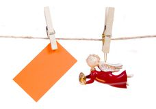 Angel Figure And Greeting Card Stock Photos