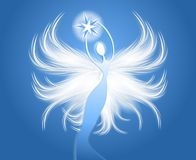 Angel Figure Holding Star Blue Stock Photos