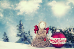 Angel figurine on holiday background Stock Photos