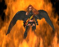 Angel of Fire. Fire Angel with a golden sword walking through flames, 3d digitally rendered illustration Royalty Free Stock Photos