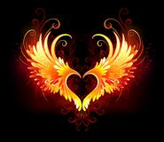 Angel fire heart with wings. Angel fire heart with flaming wings on black background. Fiery heart Stock Images