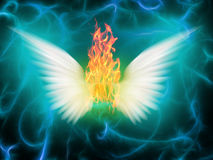 Angel of fire. With white wings Stock Image