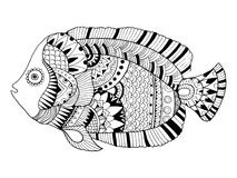 Angel fish coloring book vector illustration. Black and white lines. Lace pattern Stock Image
