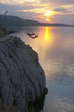 Angel in flight. Croatia divers at sunset backlight holidays royalty free stock photo