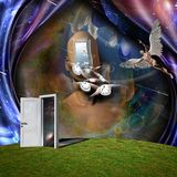Angel and Flow of time. Surrealism. Man`s head with door to another world. Man with wings represents angel. Winged clocks symbolizes flow of time. Human elements royalty free illustration