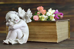 Angel, flowers and old book. On wooden background Stock Photos