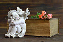 Angel, flowers and old book. On wooden background Stock Image