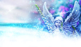 Angel between flowers and stardust Stock Images
