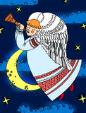 Angel with a flute flying on the background of sky. Royalty Free Stock Photography