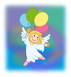 Angel 04. Angel flying with colorful balloons Royalty Free Stock Photo