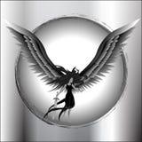 Angel Flying Holding Sword. Black and white angel holding sword while flying Royalty Free Stock Images
