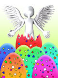 Angel Breaks Out Of Easter Egg Stock Image