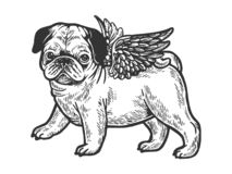 Angel flying pug puppy engraving vector. Angel flying pug dog puppy sketch engraving vector illustration. Scratch board style imitation. Black and white hand vector illustration